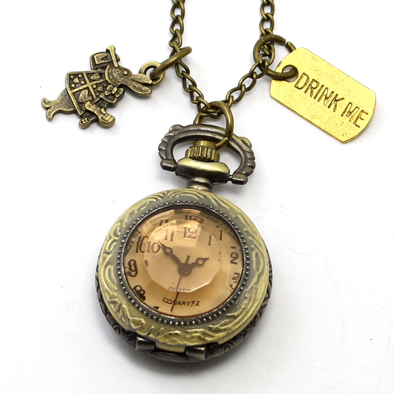 Alice in Wonderland Theme Pocket Watch With Rabbit Pendant Drink Me Tag Jewelry Free Shipping Best Gift<br><br>Aliexpress