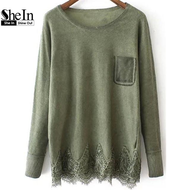 Shein осень женщин с длинными рукавом горит зеленым пуловеры шею с карманными кружева ...