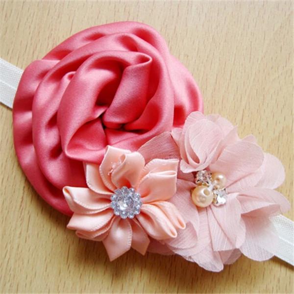 Девочки-младенцы шифон цветок повязка на голову младенческой головные уборы дети ободки дети волос аксессуары A186