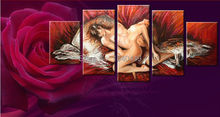 100% Hand Painted oil Paintings On Canvas Wall Art Sexy Naked Lovers Bedrooms Nude Picture 5 Panels Home Decoration MD5P303(China (Mainland))