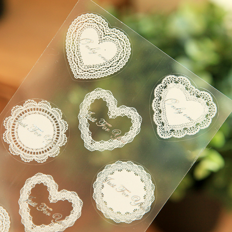 2016 Little Pure and Fresh Romantic Retro Lace Print Transparent Stickers Decorated with Wedding Decoration Icon(China (Mainland))