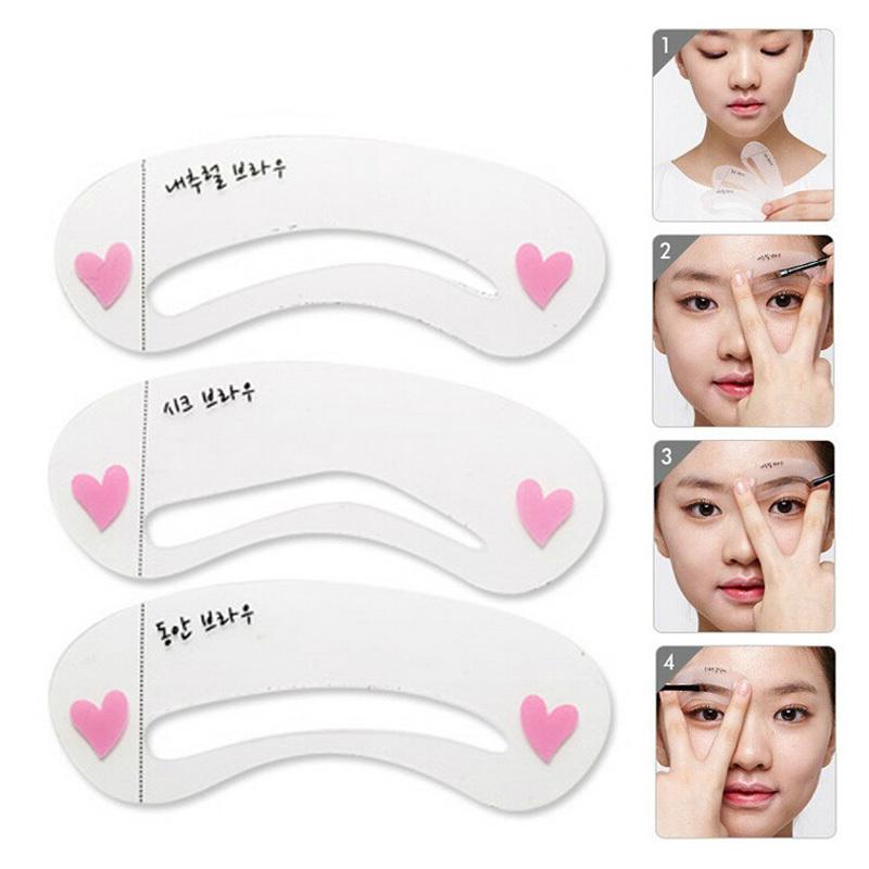 3Pcs Eyebrow Grooming Stencils Women Eye Brow Eyeline