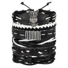 17KM בציר מרובה קסם צמידי סט לגברים אישה אופנה Wristbands ינשוף עלה עור צמיד צמידי 2019 תכשיטי מפלגה(China)