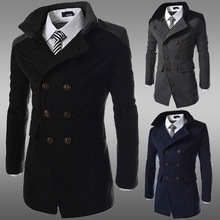 Size M-3XL High Quality Men Spring Autumn Casual Peacoat Black Coats and Jackets Double Breasted Wool Blends Casaco Masculino(China (Mainland))