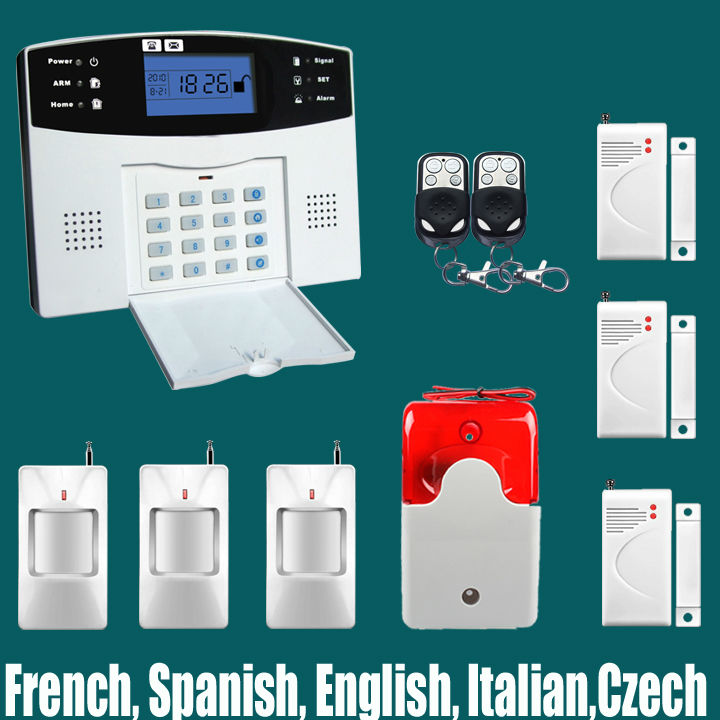 Фотография DHL Free Shipping!Spanish French English Russian Voice language 106 zone wireless and wired LCD GSM alarm system with intercom