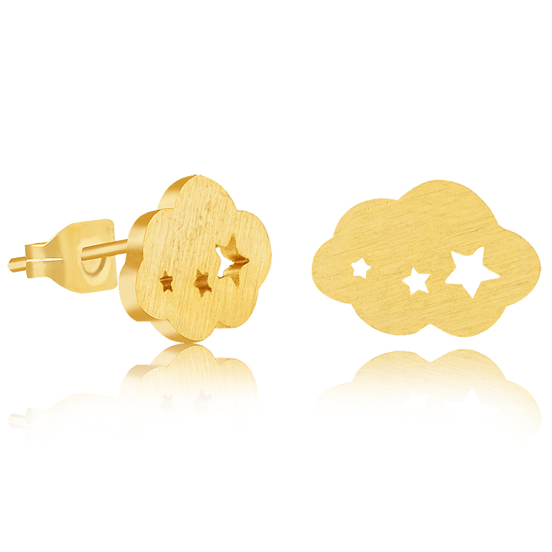 2016 Stainless Steel Fashion Charm Jewelry Gold Silver Plated Metal Cloud With Three Shine Star Stud Earrings For Women BFF Gift(China (Mainland))