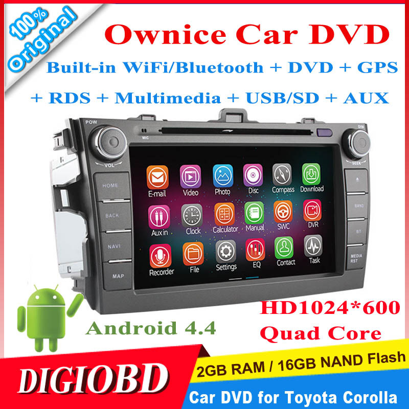 Ownice 8'' HD1024*600 Android 4.4.2 Quad Core Car DVD Player for Toyota Corolla 2006-2011 2G/16G+WiFi/Bluetooth+GPS+Multimedia(China (Mainland))