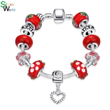 Charming Silver Plated Bracelet For Lady With Heart Charms In Oxidation Hot Red Glass Bead Bracelet & Bangles Gift For Family(China (Mainland))