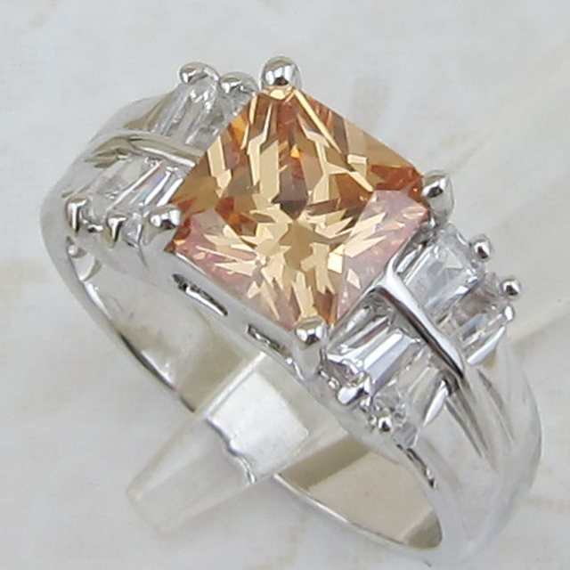Size #7 #9 Amazing Great Nice Square Orange CZ Gems Ring Platinum Plated Jewelry Gift For Women MB339A(China (Mainland))