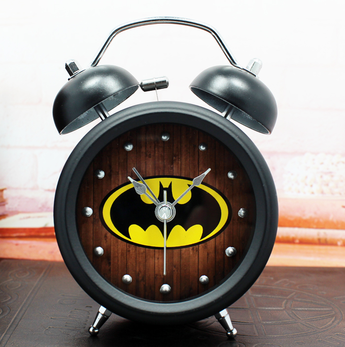 Hero Batman animation film and television creative metal bell alarm clock with night light table watch home decor free shipping(China (Mainland))