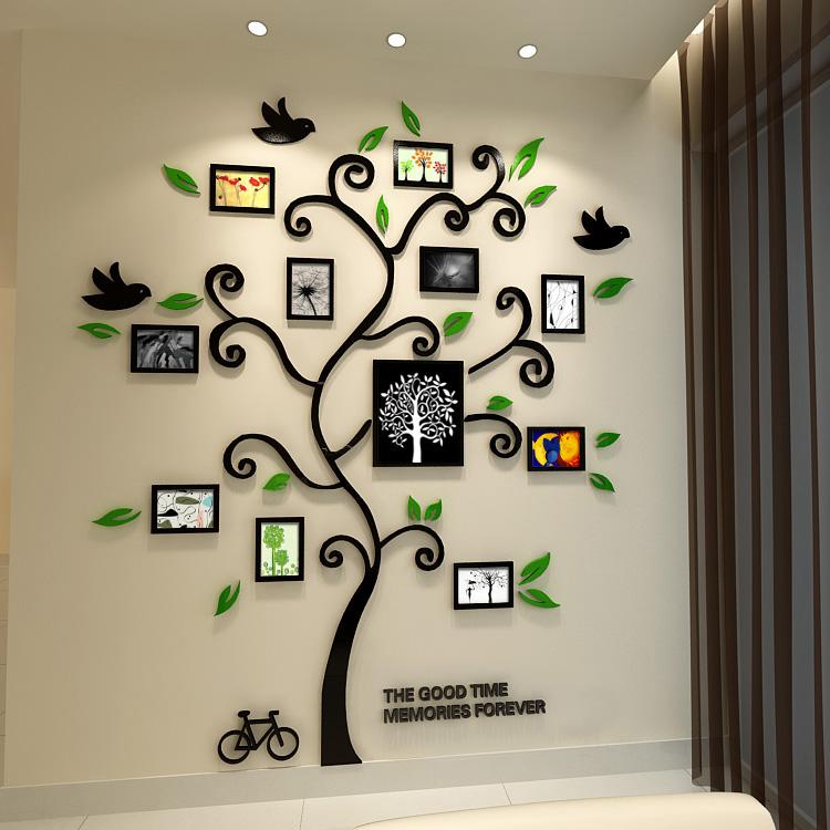 Happy tree photo frame crystal wall stickers Acrylic three-dimensional entranceway photos sofa - Zeng yong Wall Store store