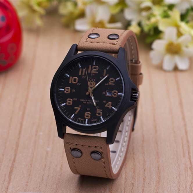 The Latest Soki Military Amy Sport Outdoor Genuine Leather Cavas Belt Dress Quartz Wristwatches Watch for Men Boy(China (Mainland))