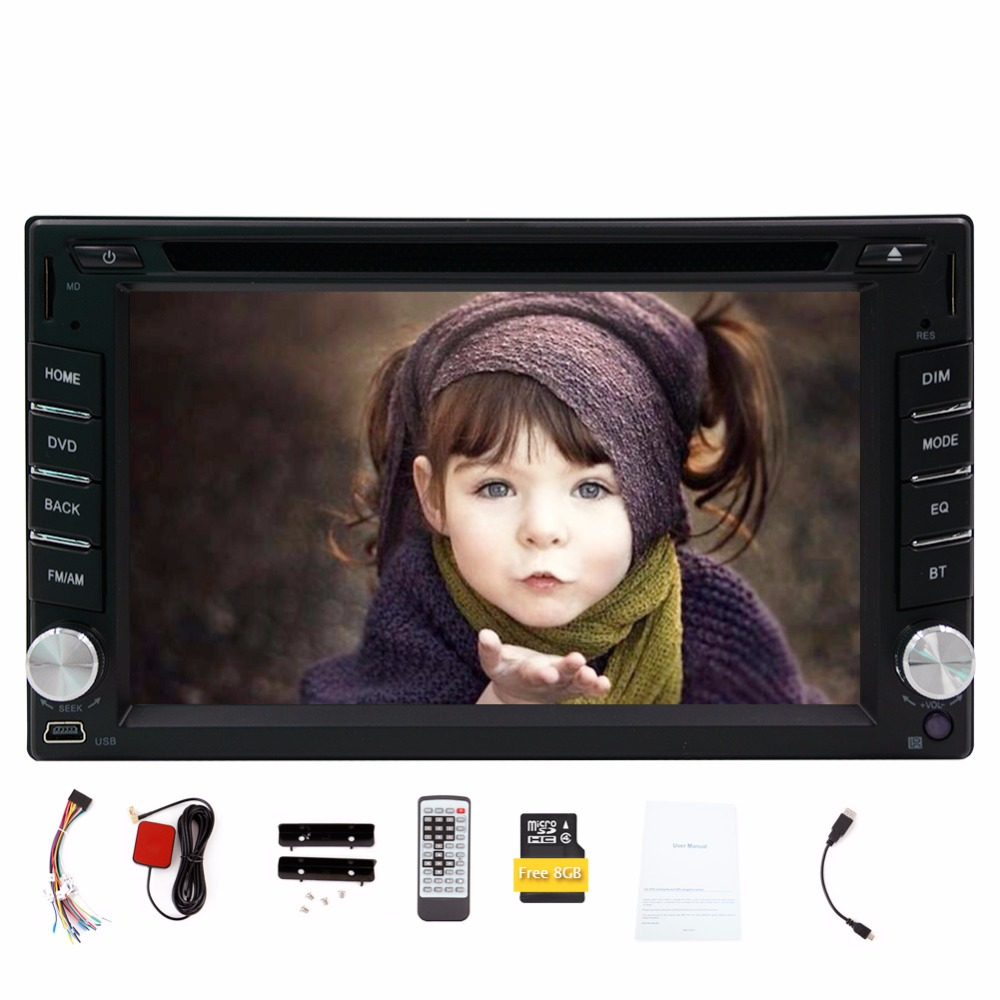 In dash 2 din New universal Car GPS Navigation Radio Double din Car DVD Player Car Headunit Electronics Stereo video+Free Map(China (Mainland))