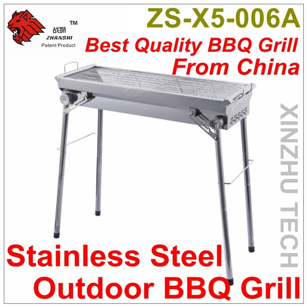Outdoor Stainless Steel BBQ Grill Camping Charcoal BBQ Grill ZS-X5-006A Portable Barbecue Grill For 6-8 People use(China (Mainland))