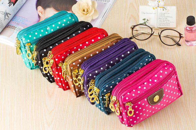 2015 new women handbag fashion purse phone package dot 3 fold wallet zipper bag ladies fabric coin purses Free Shipping(China (Mainland))