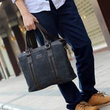 Man canvas briefcase bag, men commercial handbag shoulder messenger bag free shipping(China (Mainland))
