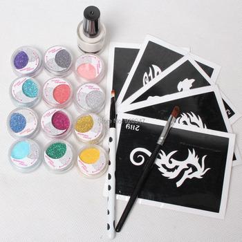 5 шт. трафареты и 12 цвет блеск порошок клей щетки татуировки комплекты для мальчиков ...