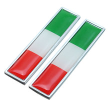 2x Car Styling Metal Label Badge Emblem Decals Cover Sticker Flag Italy Benz /VW Fiat /Maserati /Lancia - Awesome For You Co.,Ltd. store