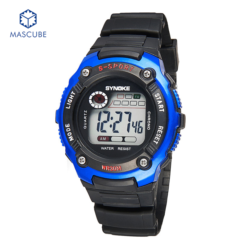 [MASCUBE]Student Sports Watch Children Boys Girls Fashion Electronic Watchs 30M Waterproof Multifunctional Wristwatches(China (Mainland))