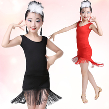 Buy Child Sexy Black Latin Dance Dress Girls Tassel Dress Ballroom Latin Salsa Dancewear Dance Costume Modern Performance Dress 89 for $23.95 in AliExpress store