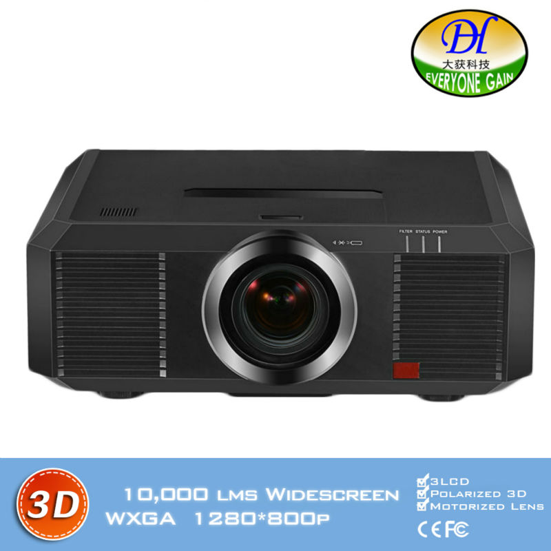 DH-8802 3D 10000lms Engineering Projector Motorized lens Full HD 1280*800P Proyector Lamp 3LCD Built in speaker Beamer(China (Mainland))