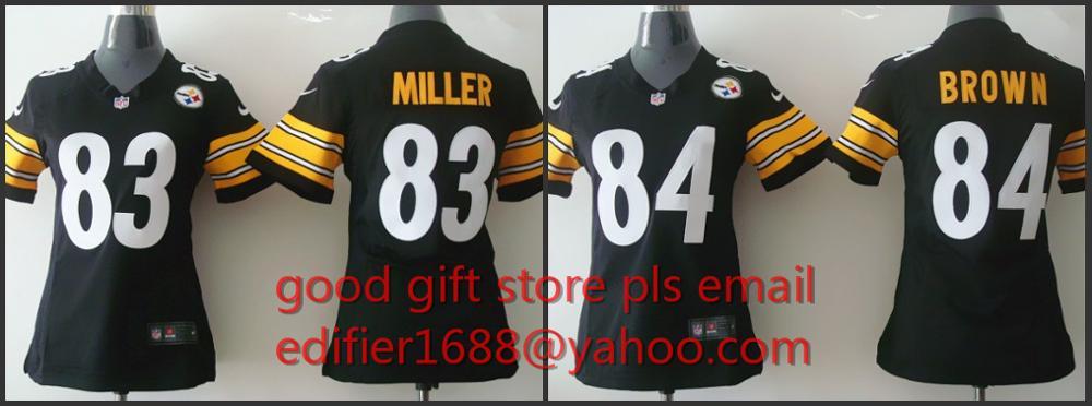 100% Pittsburgh Steelers costurado mulheres senhoras 83 Heath Miller 84 Antonio Brown Bordado Logos tamanho S ao XXL(China (Mainland))