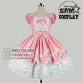 Size Customized Romantic Princess Pink Lolita Dress Children Girls Chiffon Gothic Costumes Birthday Party Kids Ball