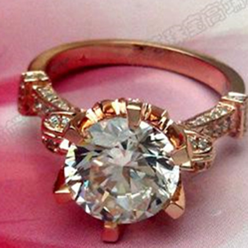 OEM Brand Gold Propose Jewelry 14K Rose Gold 3CT Synthetic Diamond Ring Engagement Solid Rose Gold Jewelry Luxury Rose Gold 14K(China (Mainland))