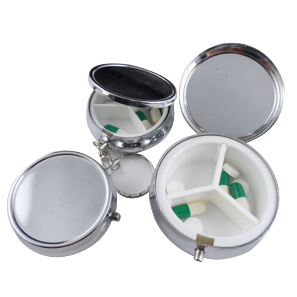 1pcs/lot Metal Round Silver Tablet Pill Boxes Holder Advantageous Container Medicine Case Small Case(China (Mainland))