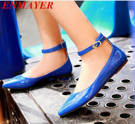 ENMAYER flats shoes Spring/Autumn Pointed Toe womens ballet flat shoes Closed Toe Buckle Strap Solid Plain women flats <br><br>Aliexpress