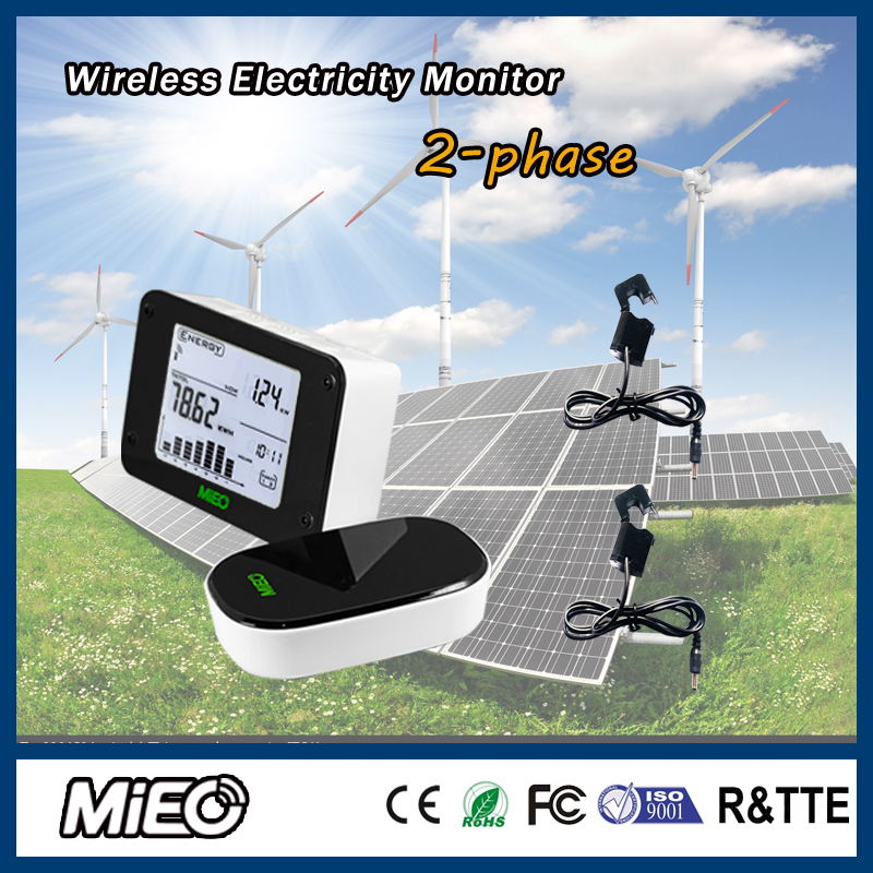 Wireless Electricity Monitor with Current Sensor for Renew Power Generation Solar Energy Saving Project Two Phase HA102 CT2 Mieo(China (Mainland))