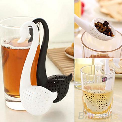 Plastic Swan Shape Tea Strainer Herbal Spice Infuser Filter Teaspoon Colander 1QE2 4BQA