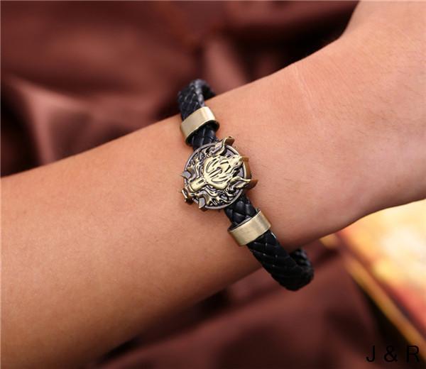 J&R Final Fantasy Wolf Head Bracelets Weave Leather Bracelet & Bangle Cosplay - Julie Fashion Jewelry store
