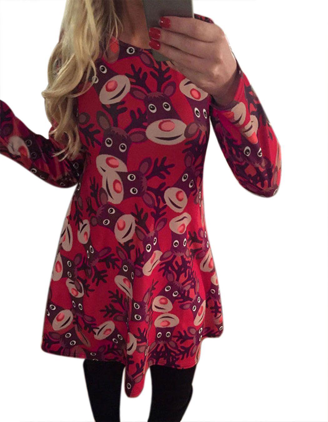 Chrismas Clothes Women Xmas Sa nta Party Swing Flared Dress Christmas Long Sleeve Animal Print dress(China (Mainland))