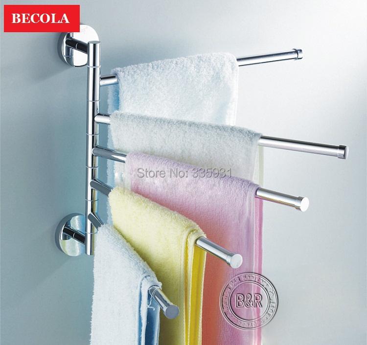 Free shipping bathroom towel rack fasion stainless steel falding movable bath towel bar towel RB-88004(China (Mainland))