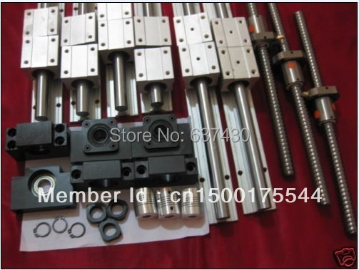 6 sets SBR16-300/700/1000mm rail + 3 sets SFU1605 ball screw kits+3 nut holder+3 BKBF12+3 coupler+ for cnc router(China (Mainland))
