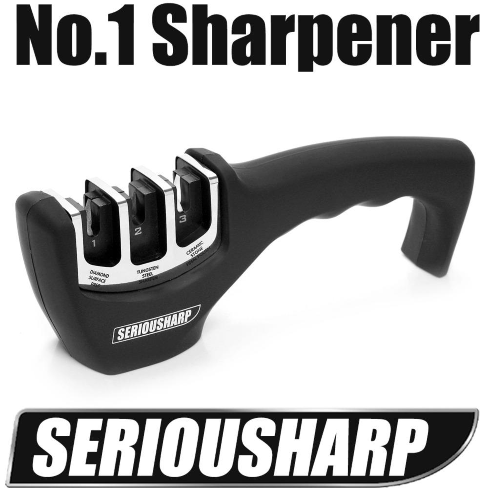 Free shipping professional Pull Through Manual Diamond Tungsten Steel Carbide Knife Sharpener Kitchen Sharpening Tool(China (Mainland))