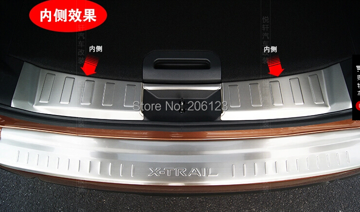 Upper + lower Car Styling Rear Bumper Inside Door Sill Plate Scuff Nissan X-Trail 2014 -2016 Stainless steel 304 - HID store