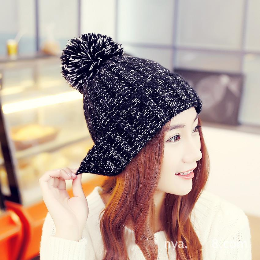 [해외]Simple Wool Hat Blending Colorful Knitted Hats For..