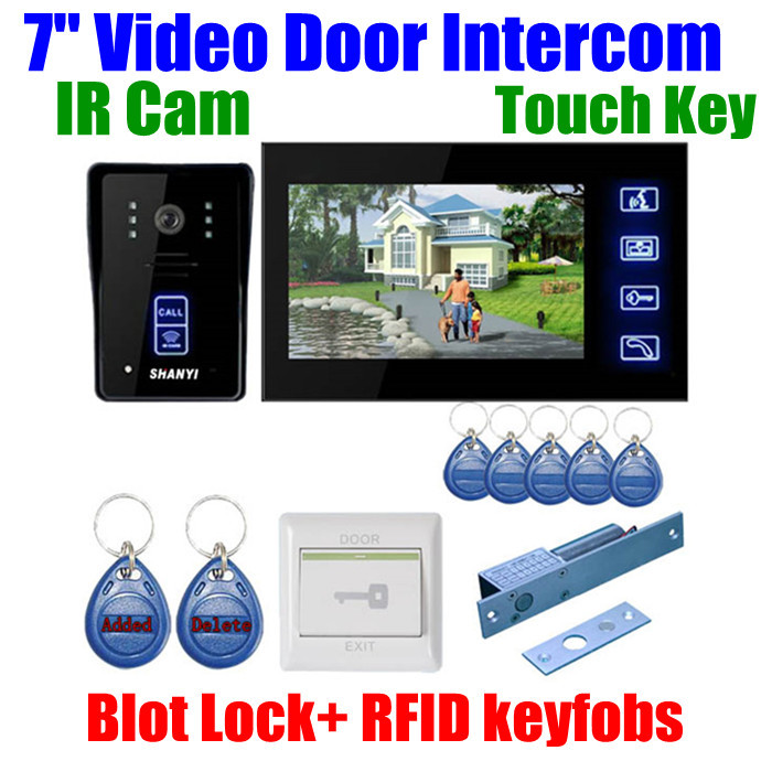 unlock 7color LCD touch entry Video door bell door phone intercom call system IR nightvision Camera RFID keyfobs card Bolt Lock<br><br>Aliexpress