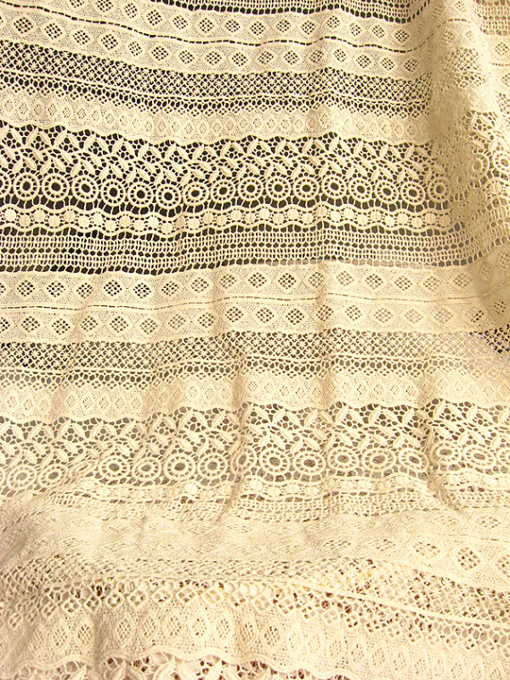 ivory cotton Lace Fabric, antique crocheted lace fabric for DIY sewing supplies by the yard