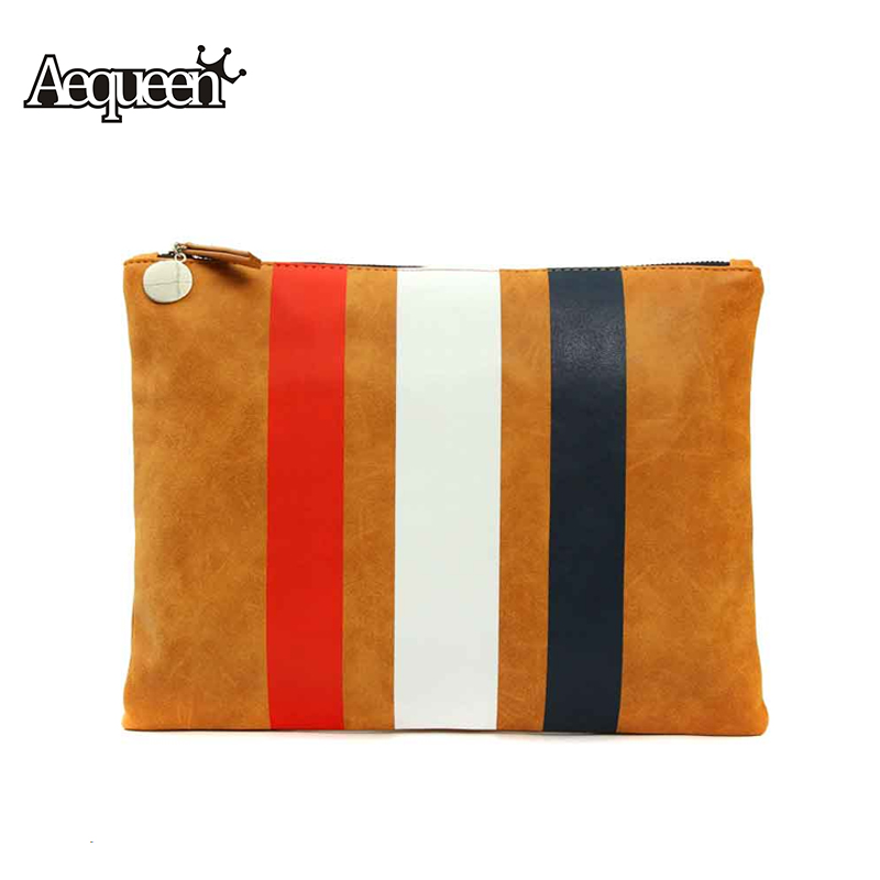 Promotion 2015 New Fashion Designer Retro Large Women Handbag Day Clutch All Match PU Leather Stripe Women Tassels Clutch Bag(China (Mainland))