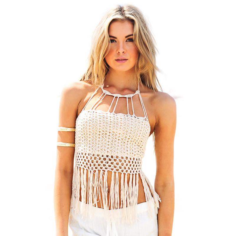 And Crochet Knit Tassel Swimwear Biquini Handmade Crochet Bikini ...