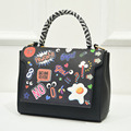 Graffiti Printing Cartoon Women PU Leather Bag Drawing Words Ladies Women Handbags New Famous Brand Fashion