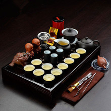 drinkware Yixing purple sand tea set Kung fu teapot Solid wood tea tray