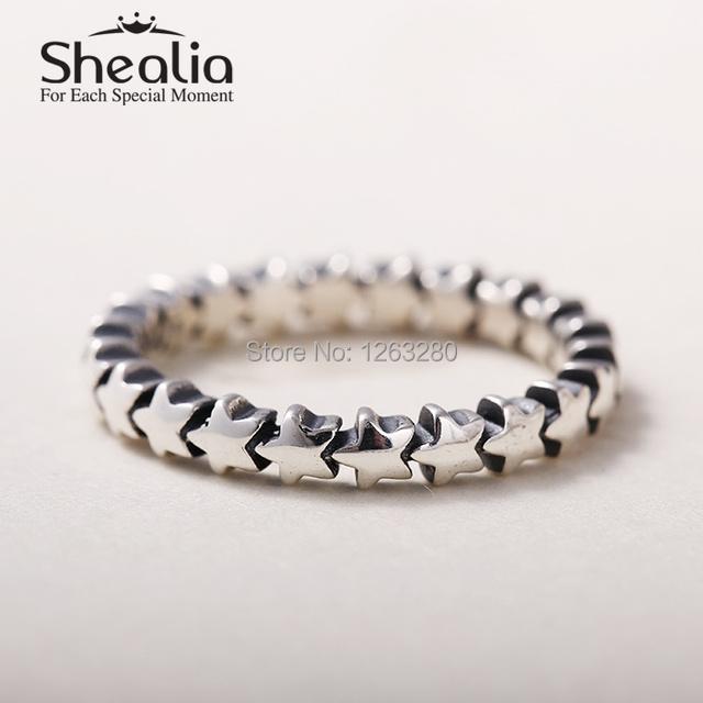 2015 новые звезды кольца подлинным стерлингового серебра 925 круглый кольца для женщин известный бренд ювелирных изделий SH0574