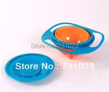 Retail Box  High quality! 1pcs Baby Gravity Bowl Spill Resistant Kids Snack Food Dish+Lid No Mess Dishwasher