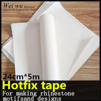 24cm x 5 meters PVC Plastic With PET Glue Good Quality Hotfix Transfer Paper Rhinestone Tape(China (Mainland))