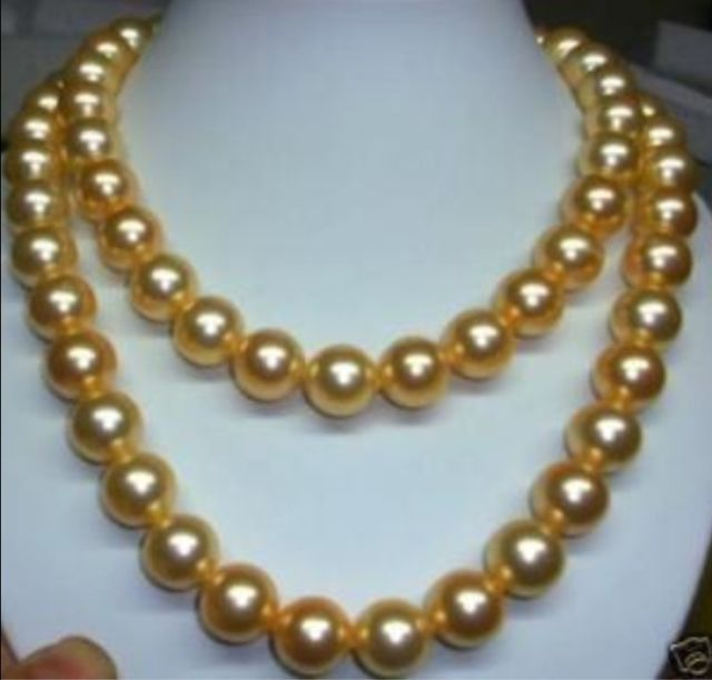 "women Discount!!DIY Fashion! 8mm gold south sea shell pearl necklace 36"" AAA beads jewelry making AAA+++ about104pcs/strands(China (Mainland))"
