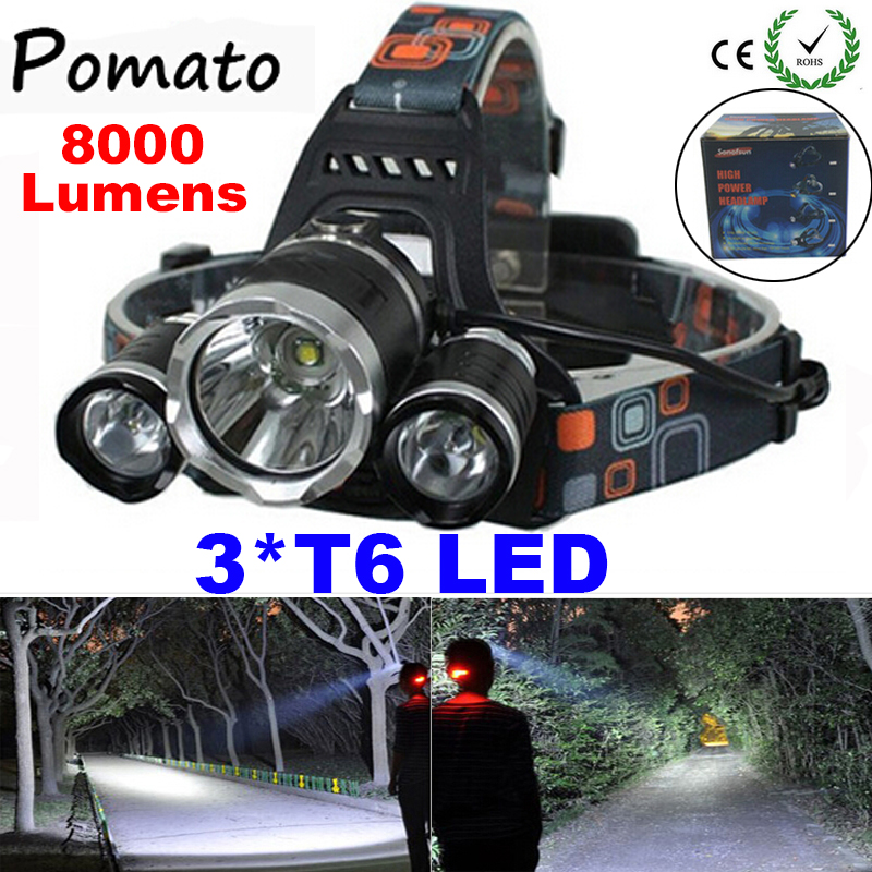 LED Headlight 3*T6 8000LM CREE XM-L T6 Headlamp Head Bike Lamp Outdoor Lights + 2* 18650 Battery Charger Car - Pomato Technology Co., Limited store